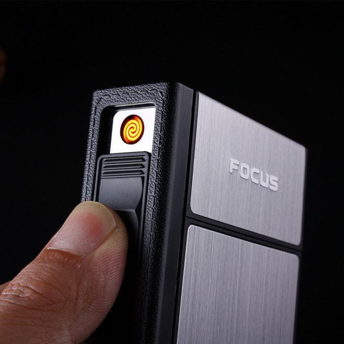 Cigarette Case Box Flameless Lighter