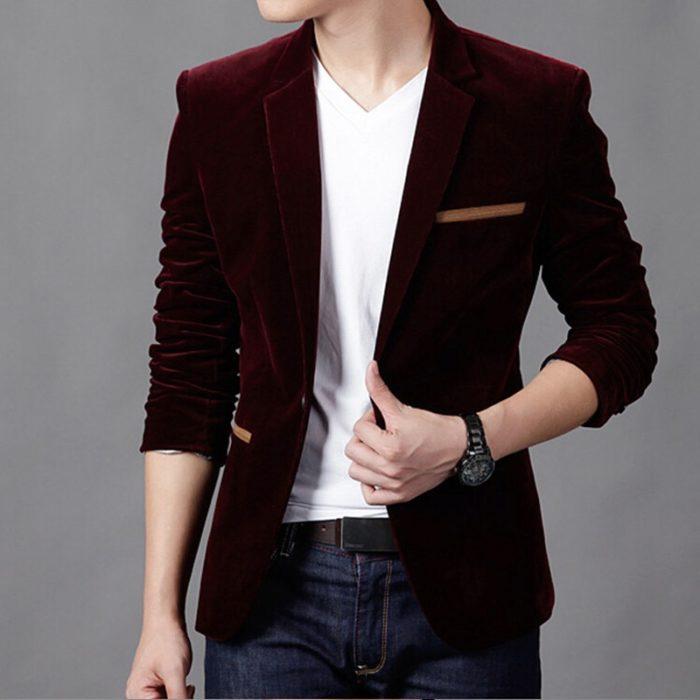 Blazer Jacket Fitted Men's Coat