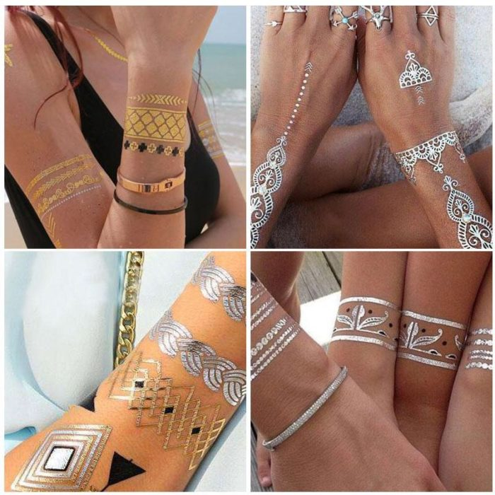 Gold Tattoo Body Art Stickers