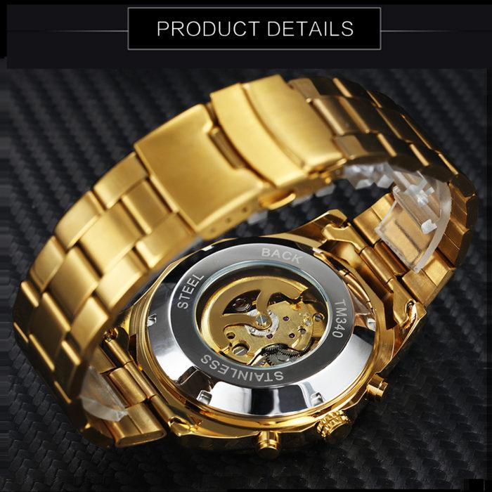 Mechanical Watch Gold Skull Timepiece