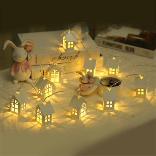 Christmas Tree Lights Hanging Houses