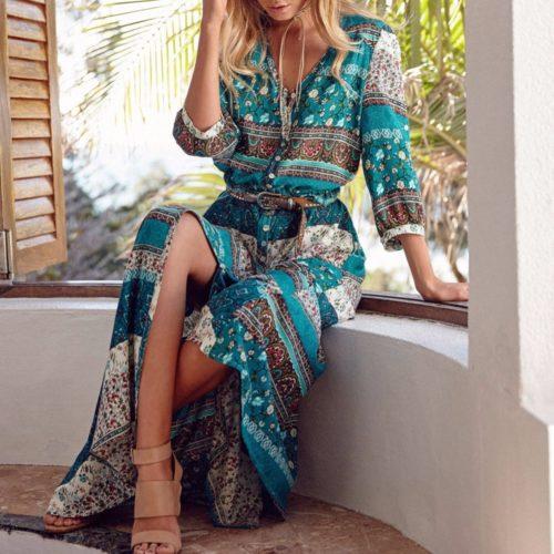 Boho Dress Folk Art Maxi