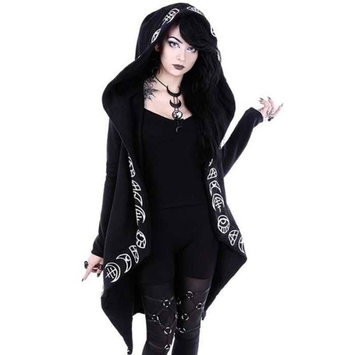 Gothic Fashion Black Casual Coat