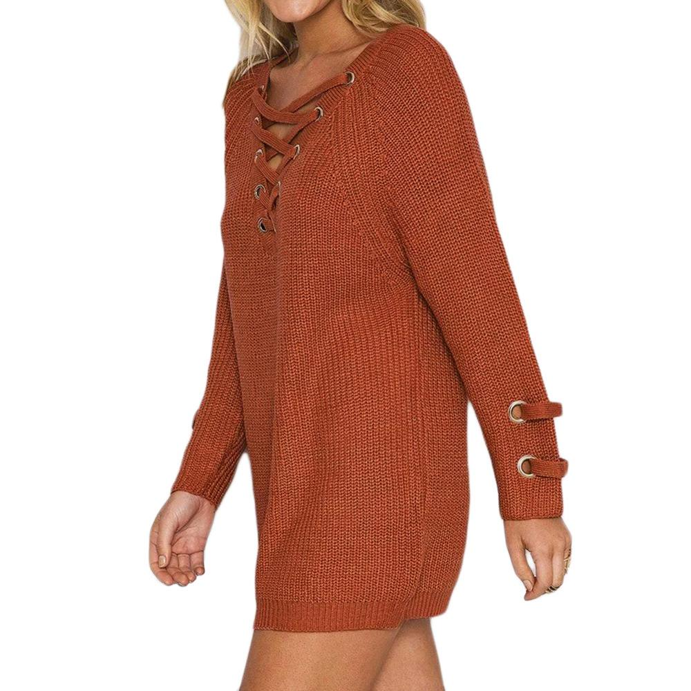 V Neck Sweater Laceup Top