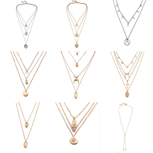 Multilayer Moon Pendant Necklaces
