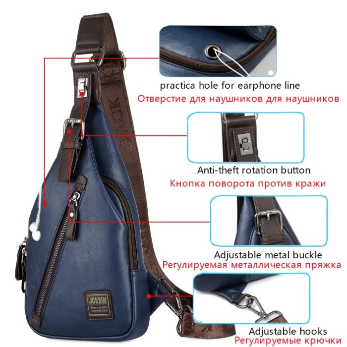 Theftproof Leather Chest Man Bag