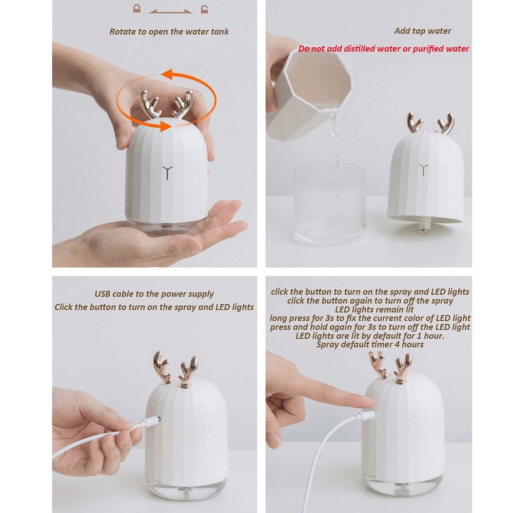 Humidifier Cute Cool Mist Essential Oil Diffuser, 220ml Aroma Essential Oil Cool Mist USB Humidifier, Waterless Auto Shut off and 7 Color LED Night
