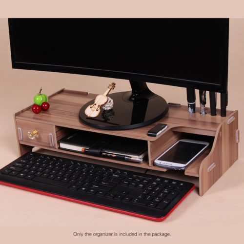 Wooden Monitor Stand Desk Organizer