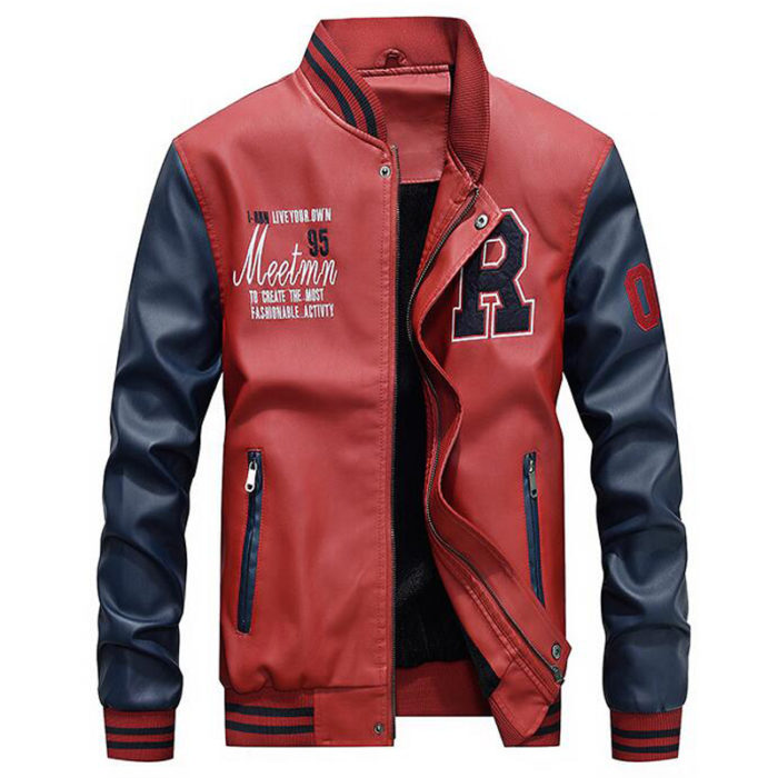 Letterman Jacket PU Leather Coat