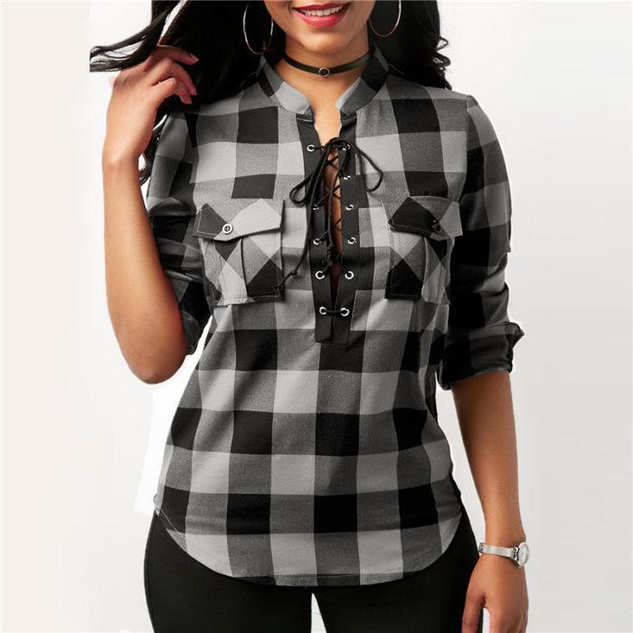 Plaid Shirts Lace-Up Blouse