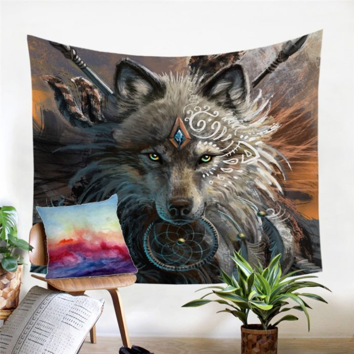 Tapestries Wolf Warrior Wall Hanging