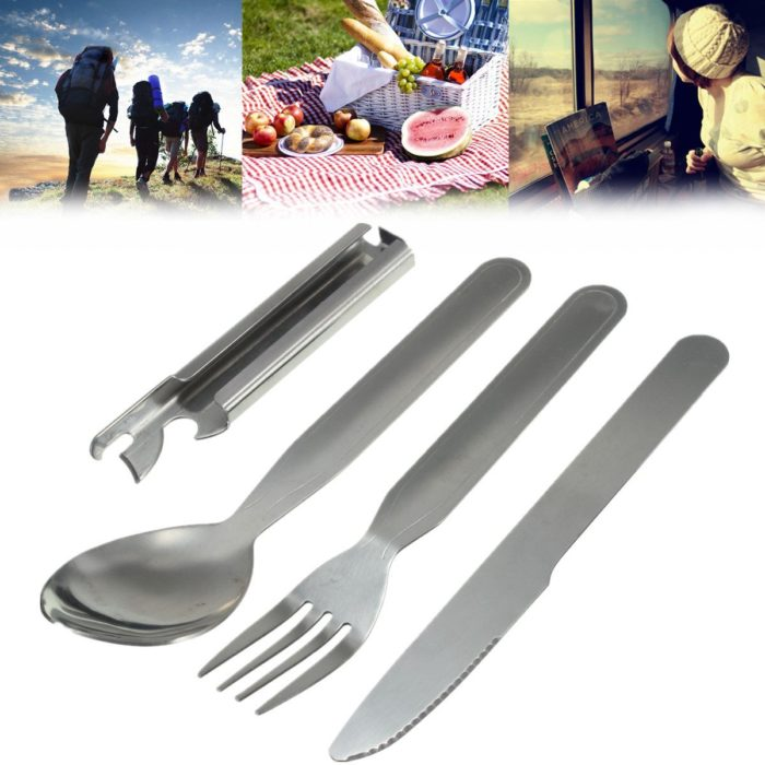 4pcs Silverware Sets Portable Utensils