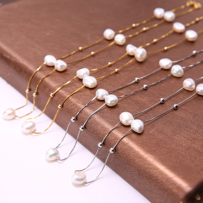 Silver Freshwater Pearls Necklace