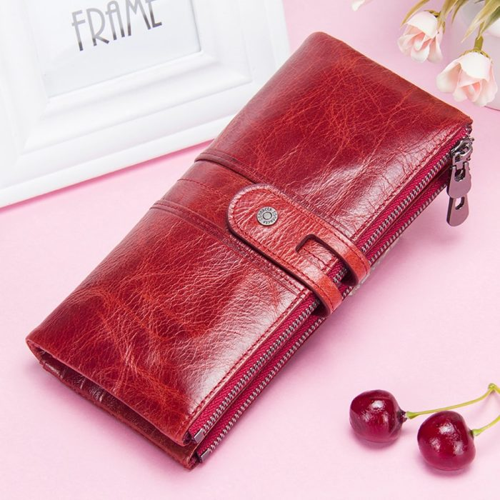 Long Zipper Leather Purse