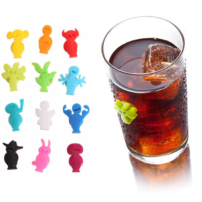 12pcs Glass Markers Silicone Suction Grip