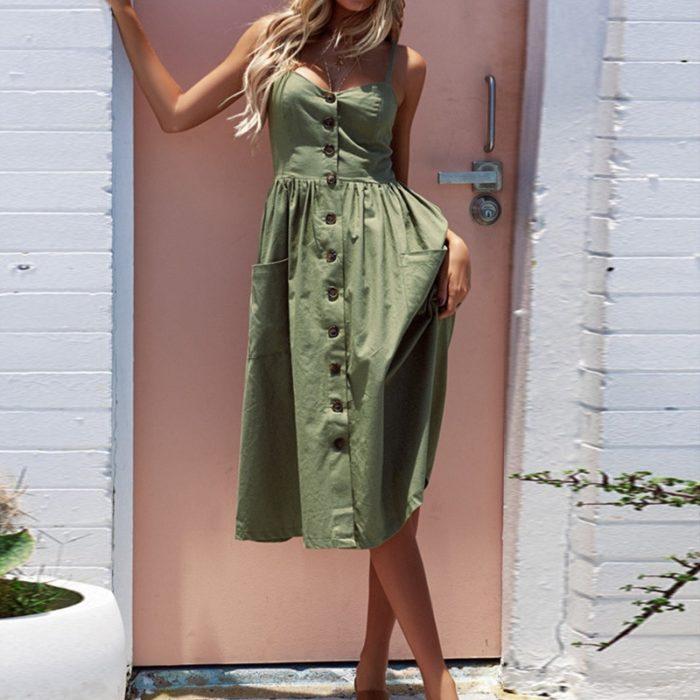 Fashion Women Sundresses Pocket Linen