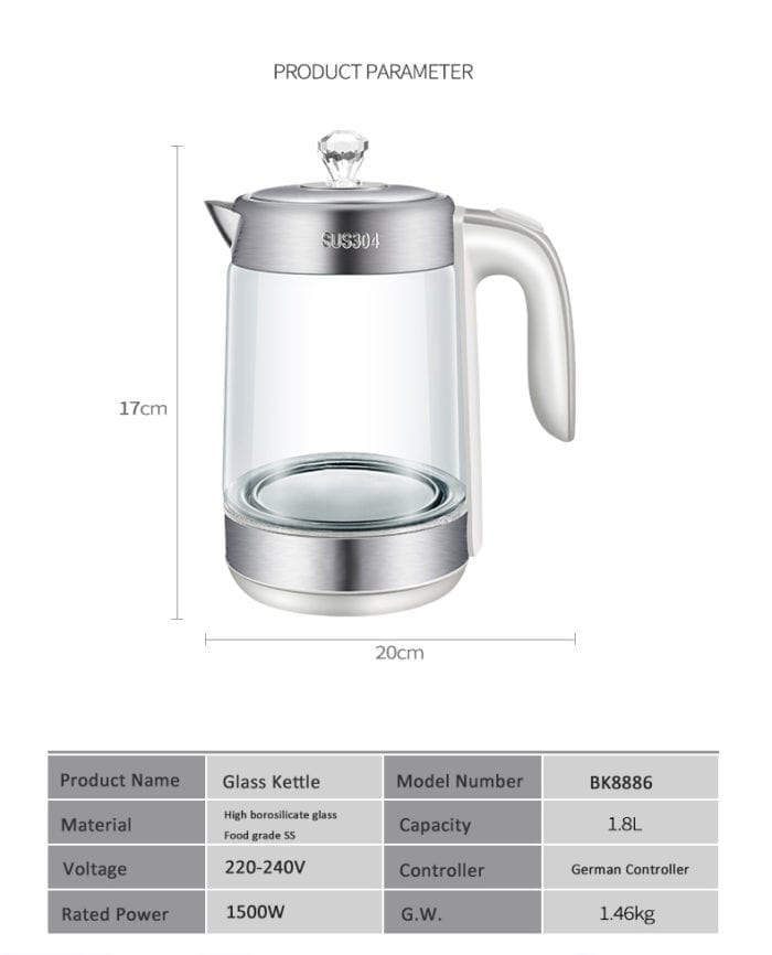 1.8L Electric Glass Kettle Cordless Pot