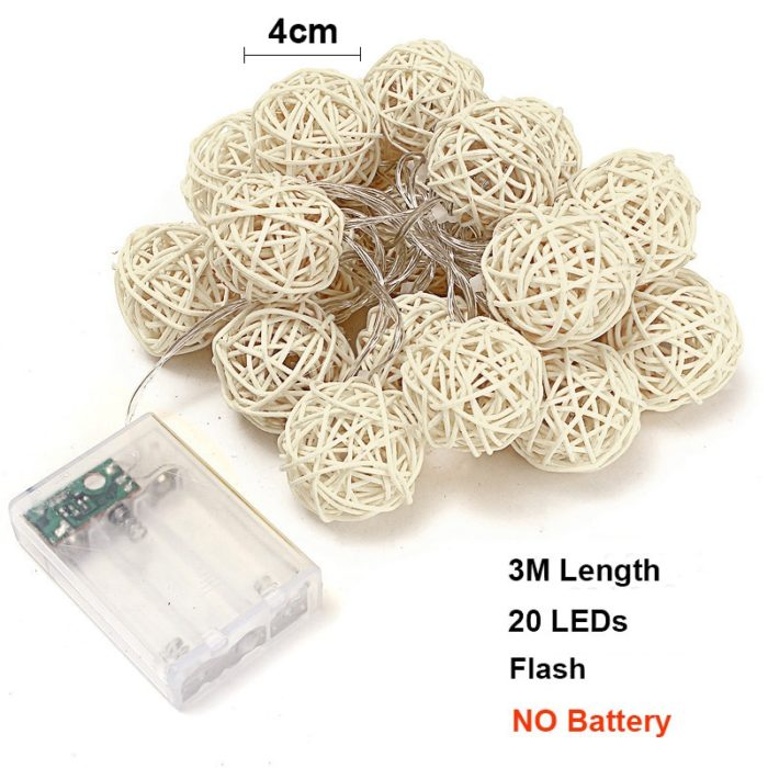 Rattan Ball LED Decorative String Lights