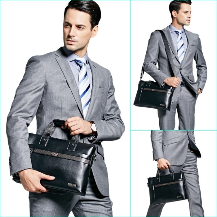 Business Men Leather Briefcase Bag