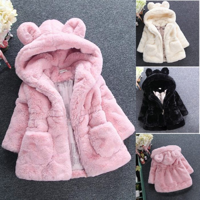 Fleece Hoodie Girls' Furry Coat