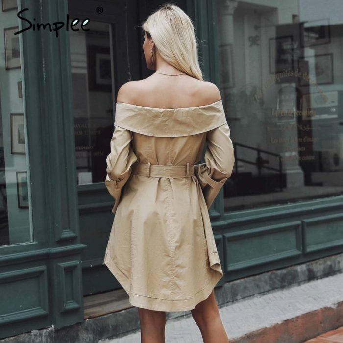 Trench Coat Off-Shoulder Khaki Dress