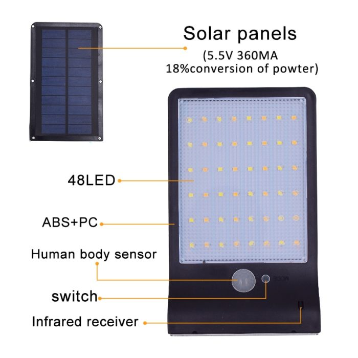 Solar Security Lights Motion Sensor Lamp