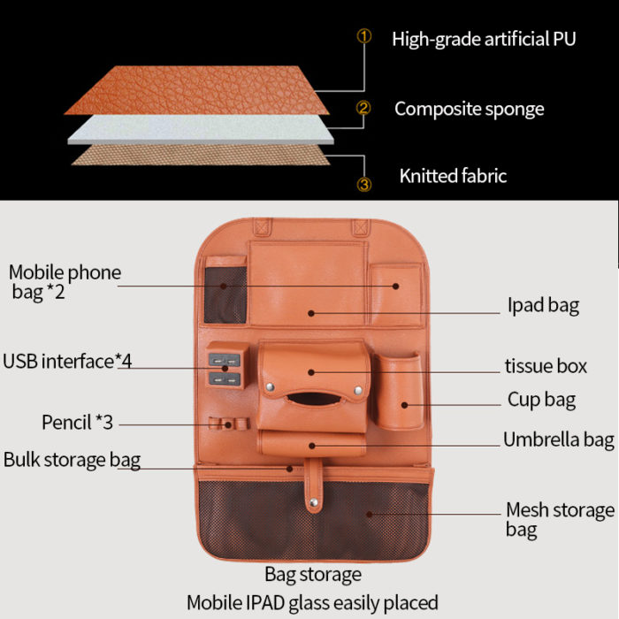 Auto Organizer Backseat Leather Storage