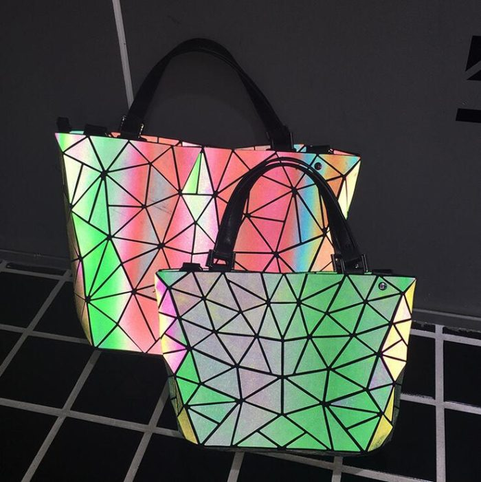 Tote Holographic Bag Geometric Handbag
