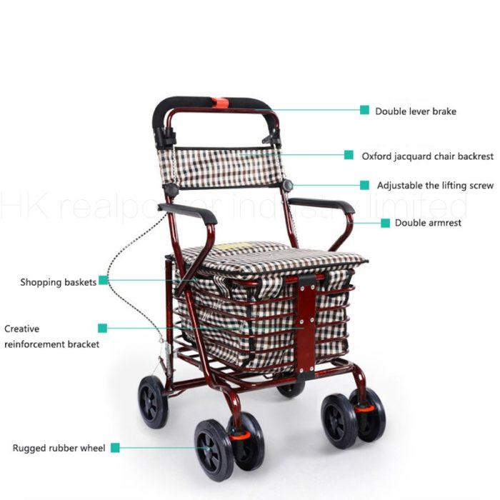 Shopping Basket Folding Seat Grocery Cart