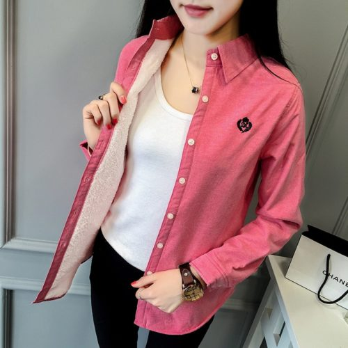 Women Thermal Tops Button Down Shirt