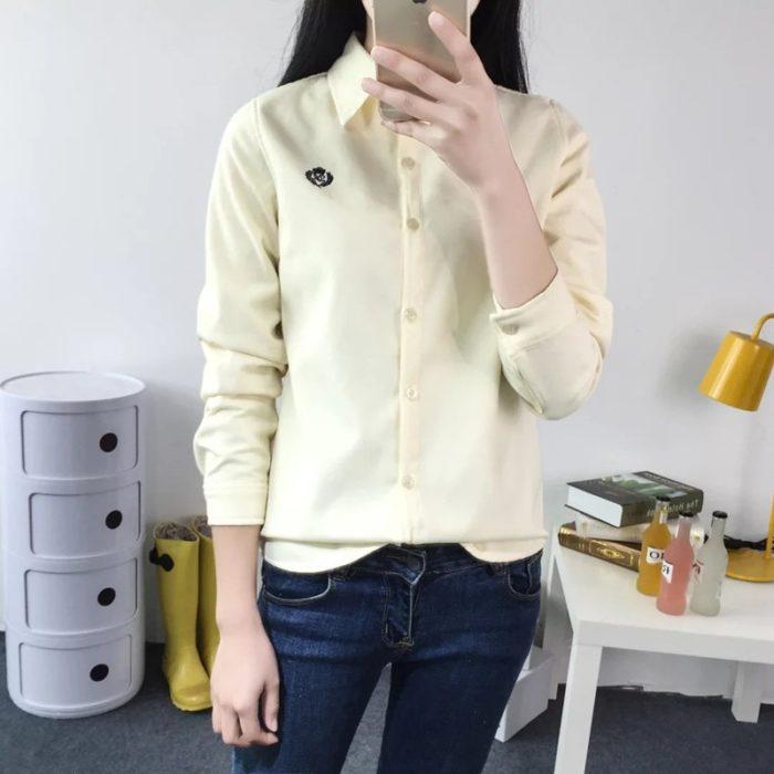 Women Thermal Tops Button Down Shirt