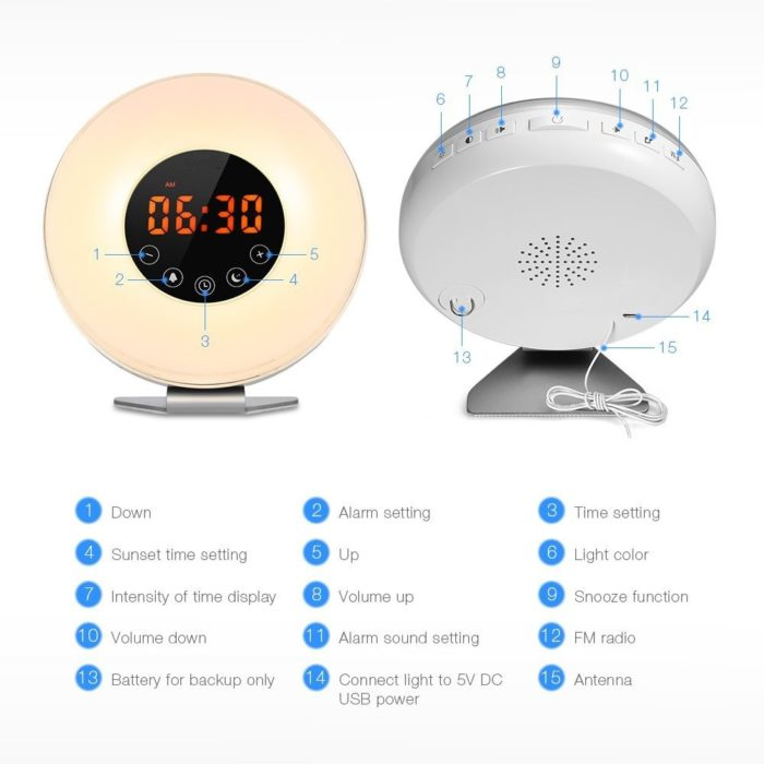 Alarm Clock Radio LED Night Light