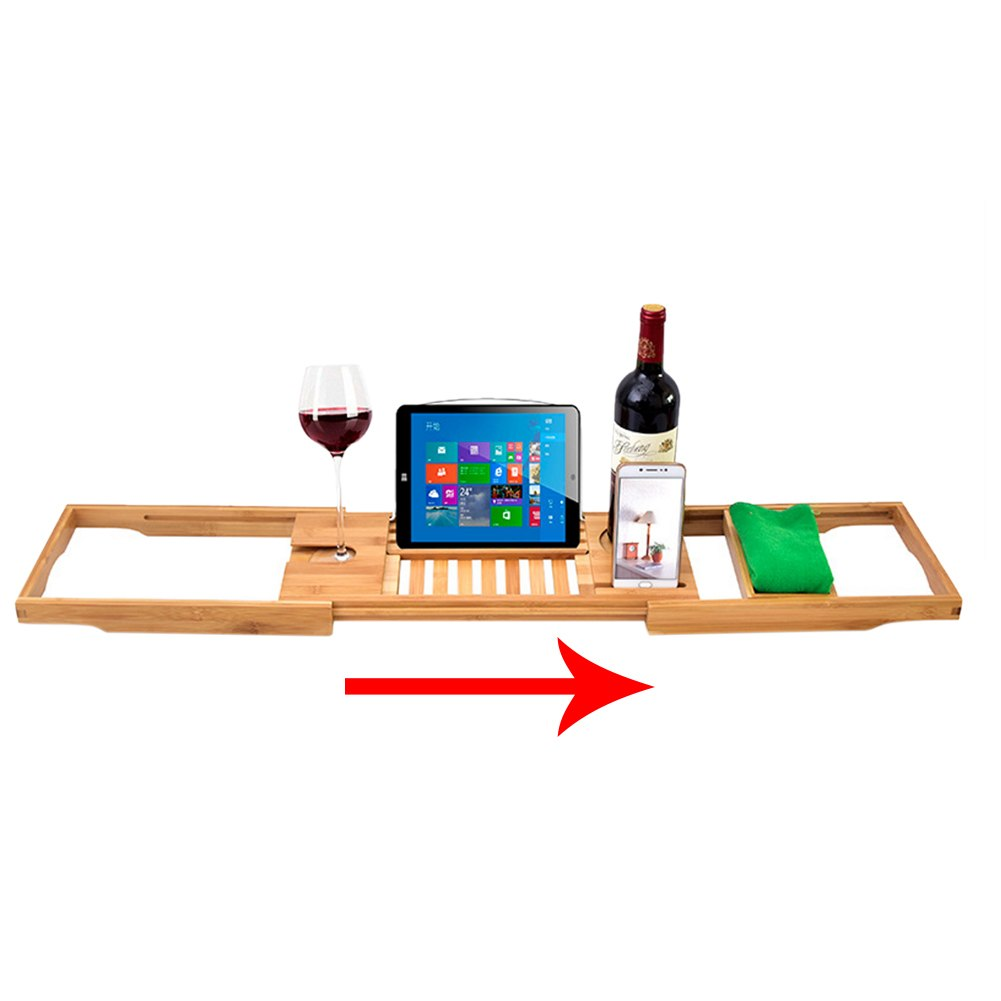 Bathtub Caddy Wooden Tray Shelf Life Changing Products