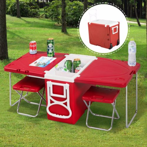 Rolling Cooler with Built-in Picnic Table