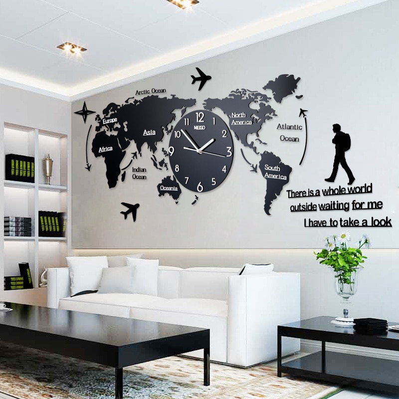 Clock World Map.Large Wall Clock World Map Shape Life Changing Products