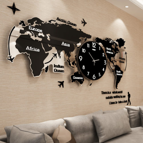 Large Wall Clock World Map Shape