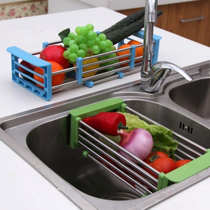 Dish Drainer Rack Adjustable Sink Tray