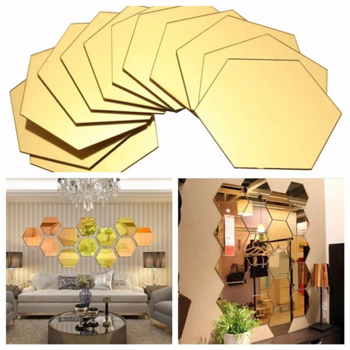 7pcs Mirror Decals Hexagon Wall Stickers