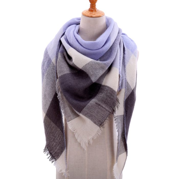 Plaid Cashmere Scarf For Women