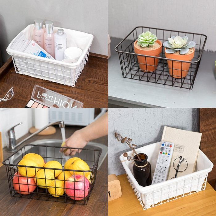Wire Storage Basket Metal Tray