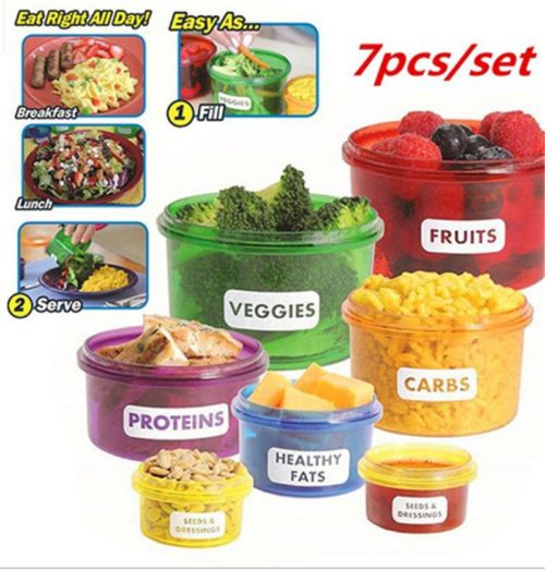 7pcs Food Containers Meal Portion Prep