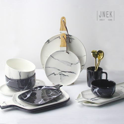 Dish Set Ceramic Marble Tableware