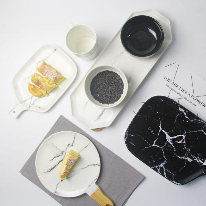 Dish Set Ceramic Marble Tableware