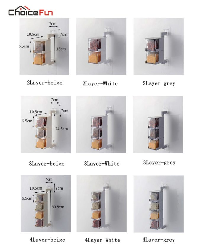 Wall Mounted Spice Rack Containers