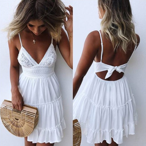 Backless Deep V-Neck Beach Dress