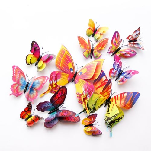 PVC 3D Butterfly Wall Decor 12pcs