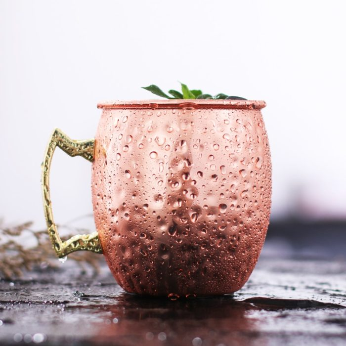 4pcs Copper Mug Hammered Steel Cups