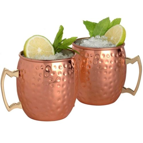 4pcs Copper Mug Hammered Steel Cups