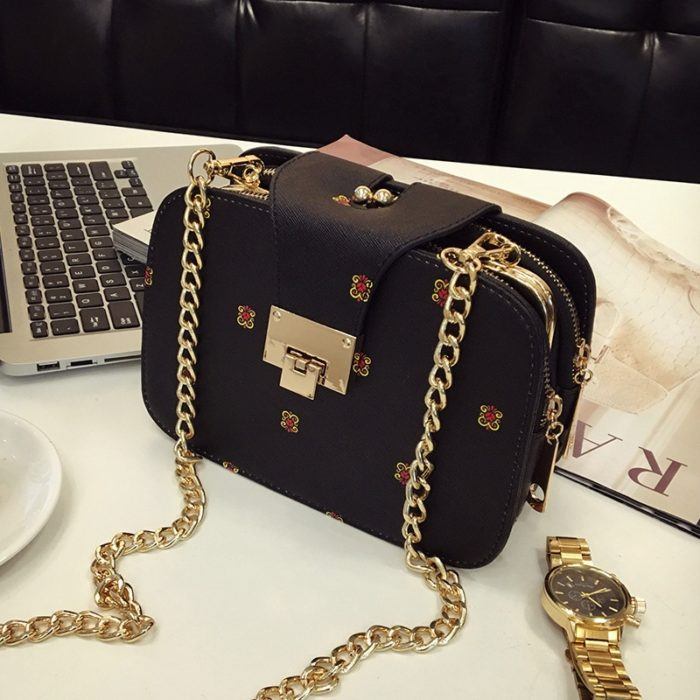 Small Purse Gold Chain Leather Bag