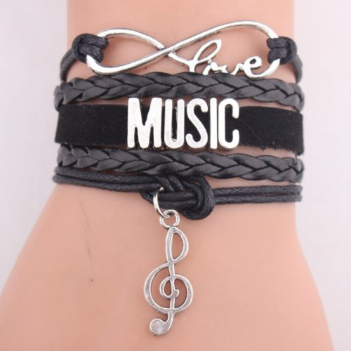 Infinity Bracelet Leather Music Band